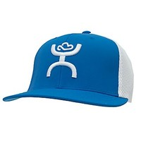 HOOey Blue Bill with White Logo Flat Bill Flex Fit Cap