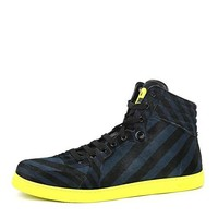Gucci Men's Blue Black Calf Hair Leather High-top Limited Sneakers 357172 4180