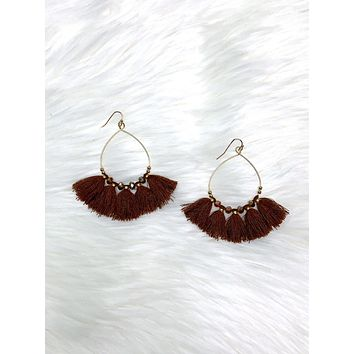 Because Of You Tassel Earrings - Brown