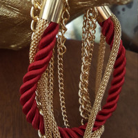 Handmade charming 6 layer gold chains and rope braided bracelets.