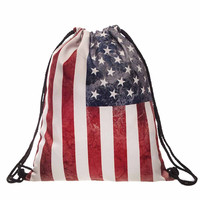 Retro Men Women backpack Flag 3D Printing Backpack for girls Drawstring Backpacks school bag Travel Bags Mochila
