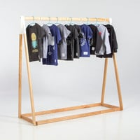TALLY - Clothing rack, 72″ High, White, Black, Natural, Birch Wood, Hand Made, Kids Storage, Minimalist, Hip Looking.