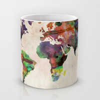 World Map Urban Watercolor Mug by ArtPause