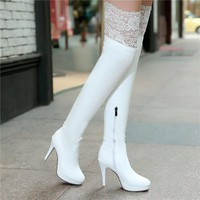 Over-the-Knee Pointed Toe Side Zipper Thin High Heels Women's Winter Fashion Shoes