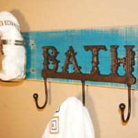 Turquoise Bathroom Towel Hook Board with Mason Jar