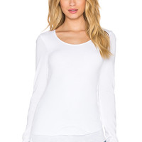 MONROW Wooly Blend Raw Edge Henley in White