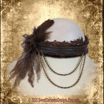 VICTORIAN CHOKER NECKLACE Brown Velvet Leather Choker Collar Steam Punk Vintage Lace Tattered SteamPunk Necklace by SweetDarknessDesigns