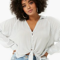 Plus Size Striped Tie-Front Shirt
