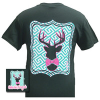 Girlie Girl Originals Collection Preppy Deer Bow Country Forest Green Bright T Shirt