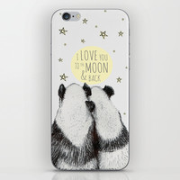 Panda loves you to the moon & back iPhone & iPod Skin by ISOSCELLΔ