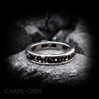 Carpe Diem Sterling Silver Uncut Black Diamond Wedding Band Engagement Ring Rings Jewelry Jewellery CDR-455