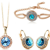 18K Gold Plated Sea Blue Crystal Necklace Earrings Bracelet Jewelry Set For Women Wedding Love Romance 12 Colors