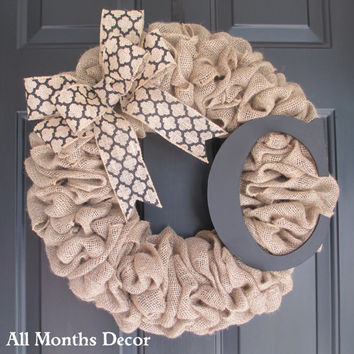 Burlap Wreath with Black Medallion Burlap Bow & Wooden Letter, Rustic Country, Spring Easter Fall, Year Round, Porch Door Decor