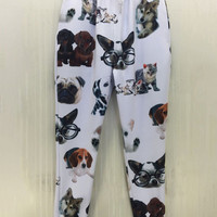 White Emoji Dogs and Cats Pets Animals Print Joggers Pants