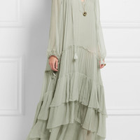 Chloé - Tiered silk-mousseline maxi dress