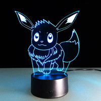 Pokemon Toys EEVEE CHARMANDER SQUIRTLE PIKACHU Lamp Color Change 3D Night Light USB Table Lampara Children's Luminaria Lava Lamp