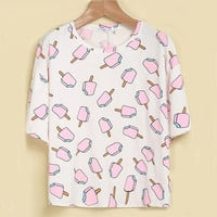 Ice Cream Stick Print Short-Sleeve Shirt