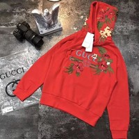 GUCCI Women Man Fashion Embroidery Top Sweater Pullover Hoodie A