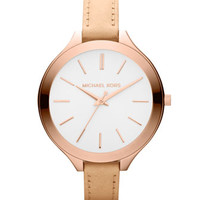 Michael Kors Mid-Size Nude Leather Runway Watch