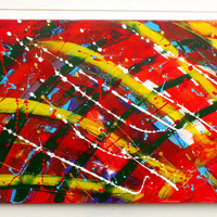 Original Large XL Abstract Art Painting Circus Big Top Acrylic on Stretched Canvas Frame