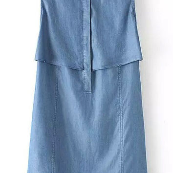 Blue Denim Lapel Sleeveless Dress