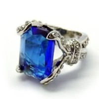 Womdee Black Butler Ciel Phantomhive Cosplay Accessory Ring With Big Blue Gem With Womdee Accessory