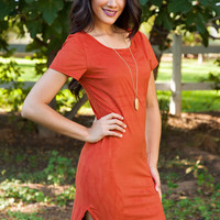 Amabel Suede Dress - Rust