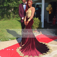 New Arrive Burgundy African Prom Dress See Through Long Sleeve O neck Sheer Gold Appliques Long Girl Mermaid Prom Dresses 2017