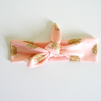 Pink With Gold Dots Headband