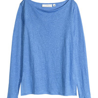 Top in Linen Jersey - from H&M