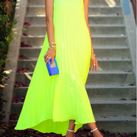 Yellow Color Crumple Sleeveless Maxi Dress