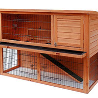 Merax Pet Rabbit Bunny Wood House Hutch with ABS Tray, Natural Color