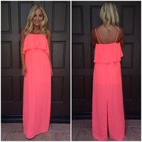 Caelyn Chiffon Maxi Dress - NEON CORAL