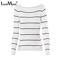 2017 Autumn Winter Casual Black White Striped Long Sleeve Knit Women Slim Sweater Pullovers Jumpers