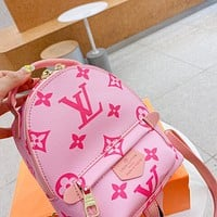 LV Louis Vuitton new letter print ladies shopping backpack school bag Daypack Pink