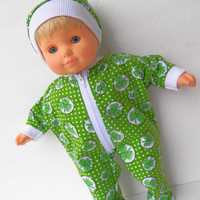 Bitty Baby Clothes Boy or Girl Irish Shamrock St. Patrick's Day Green White Feetie Zip Up Pajamas Pjs Sleeper and Cap (hat) 2 pc set