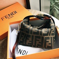 Inseva FENDI Retro Women Shopping Bag Canvas MIni Handbag Tote Shoulder Bag Crossbody Satchel