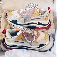 Balenciaga Triple S Fashion father shoes men and women increased thick soles non-slip classic splicing breathable leisure single shoes-4