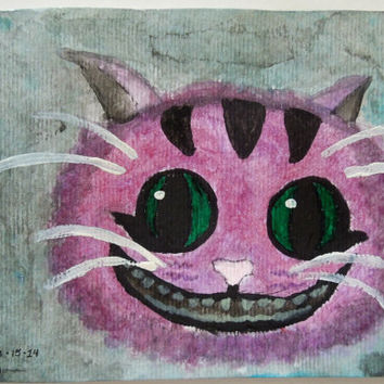 Cheshire Cat Water Color Painting SFA 4x6