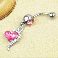 1pcs Rose Red Rhinestone Crystal Heart Barbells Navel Belly Bar Button Ring Body Piercing