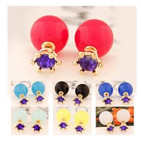 The wind is simple purple drilling spherical double - sided pearl - shaped earnail girl