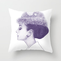 Audrey Hepburn in Purple  Throw Pillow by Clover Chen | Society6