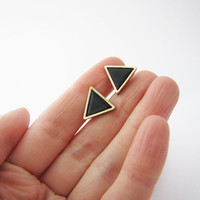 Black  gold triangle stud earrings. Simple posts. Geometric studs. Everyday post earrings. Fall trends polymer clay