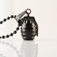 Mens Necklace, Black Hand Grenade pendant, Stainless Steel Pendant Necklace, grenade charm