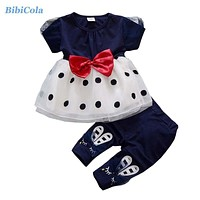 Summer Baby Girls Clothes Sets Children Girls Tops +Pants 2 PCs Clothing Set Toddler Girls Princess Clothing Kids Set