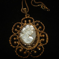 Vintage Cameo hand carved Mother of Pearl Gold Tone Necklace