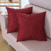"""Euphoria CaliTime Contempo Decorative Throw Pillow Cushion Cover Pillowcase Shell Solid Faux Silk Roses Floral Embroidery Deep Red Color 18"""" X 18"""""""