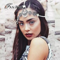 FANHUA Silver Color Hair Jewelry Designer Chain Tassel Snow Shape Clip Headbands Boho Hair Accessories Hairwear For Women