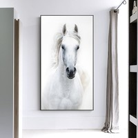 Nordic Style White Horse Canvas White Poster Print Modern Wall Art Pictures For Living Room Bedroom Aisle Studio Entrance Lobby