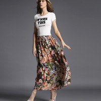 """""""Wicke Time"""" Tee with Floral Maxi Skirt"""